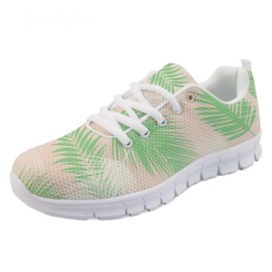Plant Palm Women Casual Breathable Mesh Flats Shoes 3D Green Leaves Pattern Youth Girl Fashion Sneakers Zapato Mujer