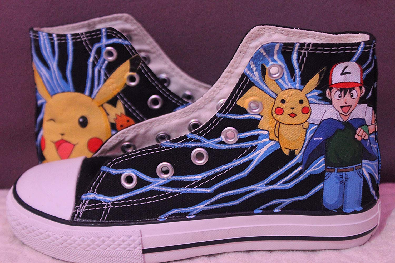 a3296ac67a0b Get Quotations · Pokemon Hand Painted Shoes for Men Women High Top Black  Canvas Shoes Unique Gifts