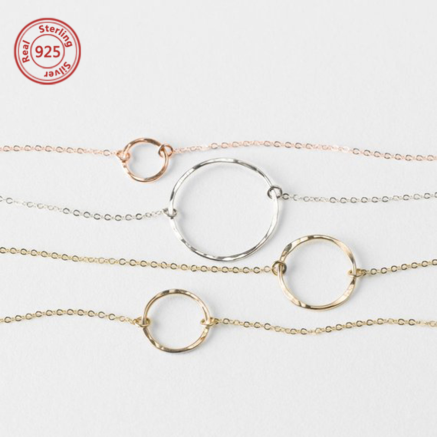 Gold Hammered Circle Necklace Dainty Gold Open Circle Necklace