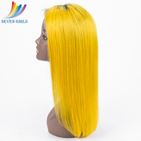 New Dark Roots Two Tone #1b 613 Blonde Human Hair Ombre short blonde lace front wig