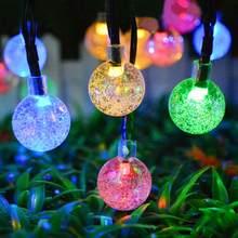 Солнечная Светодиодная лампа для лужайки 6 м 30 LED хрустальный шар солнечный свет для сада на открытом воздухе ландшафтное Рождественское ук...(Китай)