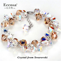 Handmade Jewelry Cute Fruit Design Gemstone Bracelet 925 Sterling Silver Crystal From Swarovski