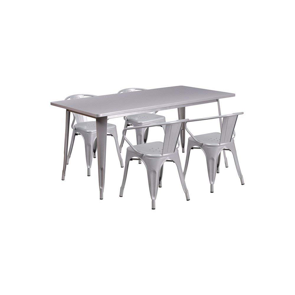"""Offex OFX-380694-FF 31.5"""" x 63"""" Rectangular Metal Indoor Table Set with 4 Arm Chairs - Silver"""