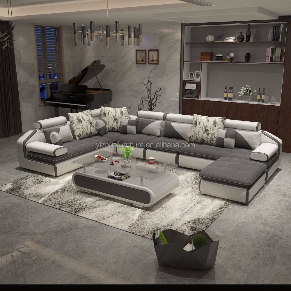 foshan big grey sectional <strong>sofa</strong>, living room furniture bed u shape