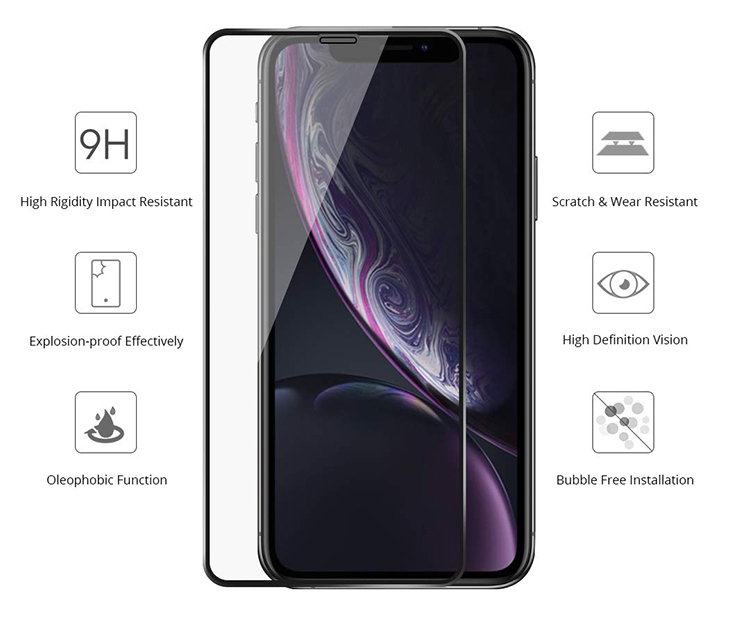 3D Full Coverage Screen Protector Gummed Frame Edge to Edge Black Frame Curved Screen Protector Tempered Glass For iPhone XR