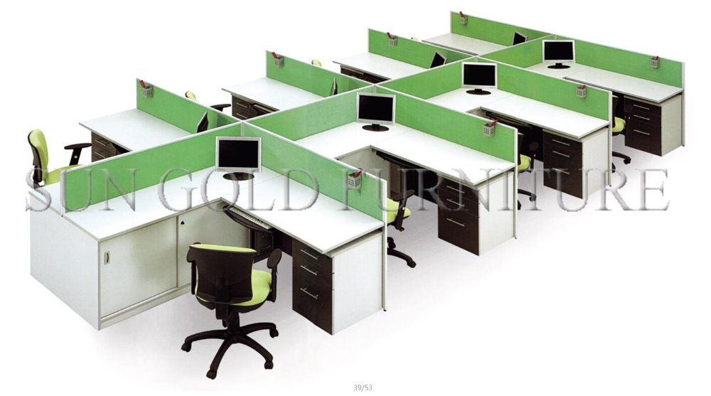 Modern Office Furniture China Supplier,Modualr Green 8 Seats Workstation Office  Dividers Desk(SZ