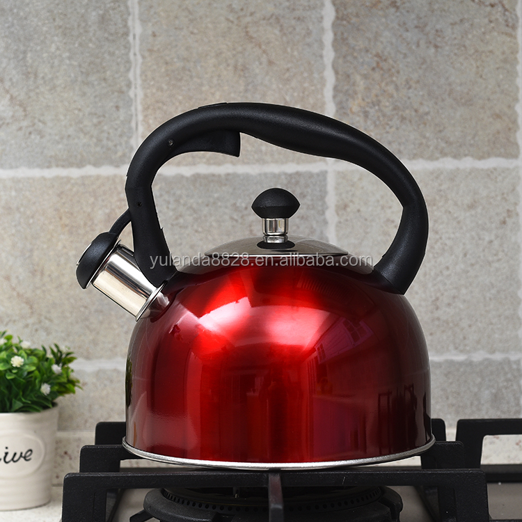 Best sell Polish belly shape stove top whistling kettle with rubber coating handle