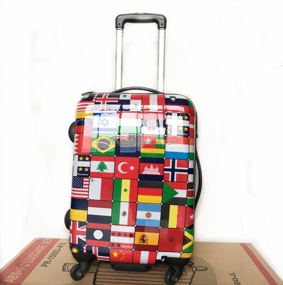 2016 New 20/24/28inch High Quality Flag Printing ABS+PC Trolley Luggage