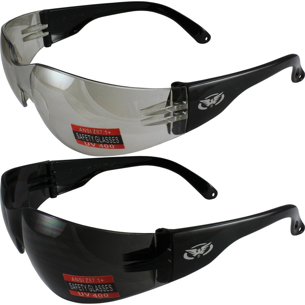 bfce58725716 Get Quotations · Two Pairs of Global Vision Rider Safety Motorcycle Riding Sunglasses  Black Frames One Pair Clear Mirror