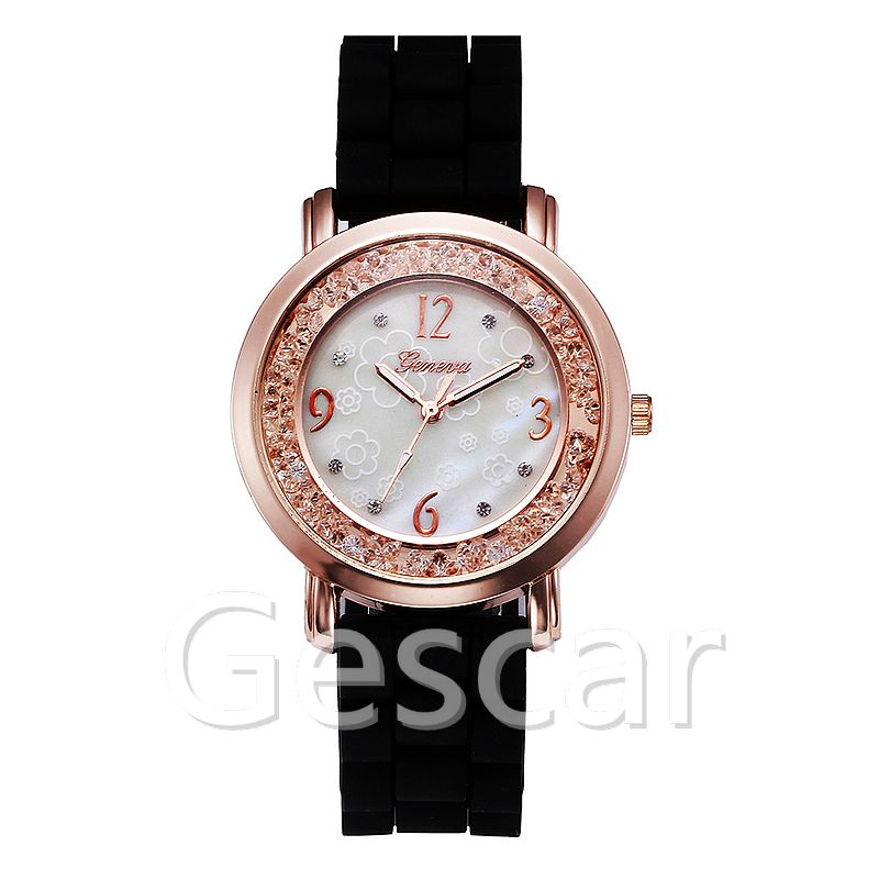 geneva-6689-1 candy colors geneva silicone rose gold case crystal watch for women