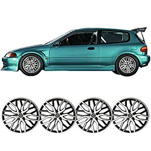 Universal 14 Inches Hub Caps Hubcap Wheel Cover Rim Skin Covers Black Silver 4PC Amazon#