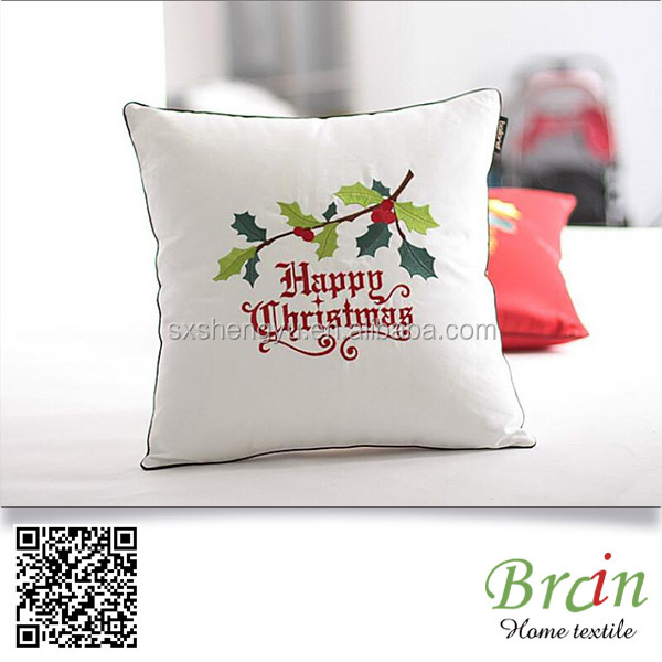 Cotton Material 50x50 Square Holiday Decorative Embroidered Merry Christmas Cushion