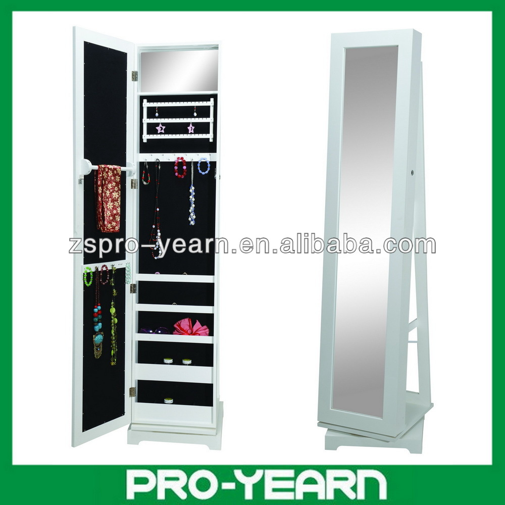 Full-length Rotating Wooden Mirrored Jewelry Cabinet Chinese Furniture with Rotatable Turnplate Base for Dressing and Cosmetic