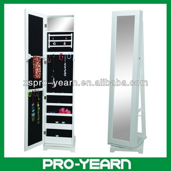 Full Length Rotating Wooden Mirrored Jewelry Cabinet Chinese Furniture With Rotatable Turn Plate Base For Dressing And Cosmetic Buy Full Length
