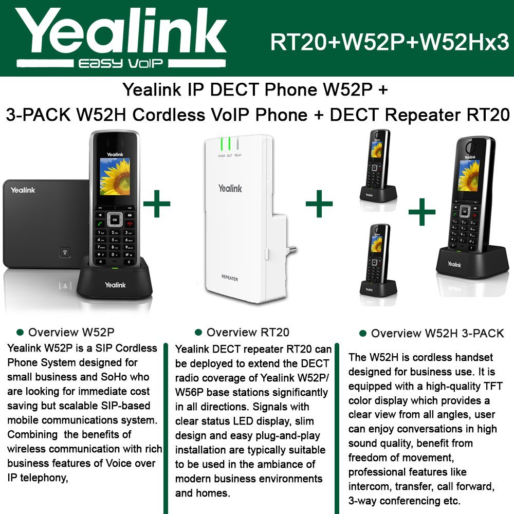 Yealink W52P IP DECT Phone + 3PACK W52H Cordless VoIP Phone + DECT Repeater RT10