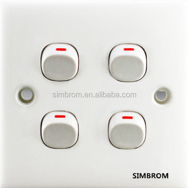 Modern new design british wall <strong>switch</strong> and socket,4 gang 1 way power <strong>switch</strong>