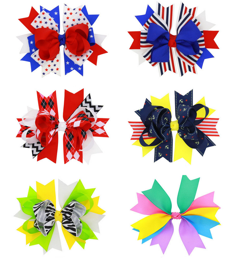 Wholesale Big July 4th Patriotic Cheer bow American Flag Hair bow