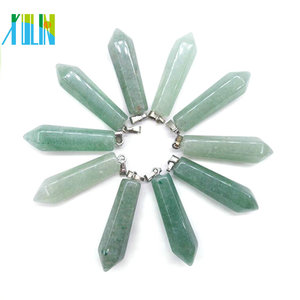 Natural jade green aventurine hexagonal point gemstone pendant in stock