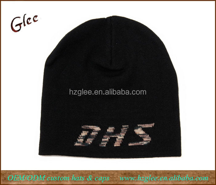 ' DHS ' text knitted acrylic sports beanie winter hat
