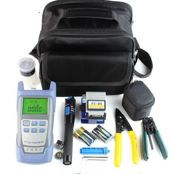 12pcs/set ftth fiber optic tool kit with fiber cleaver /power meter