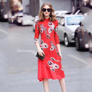 Chinese style button and collar, Retro design, Printed dress