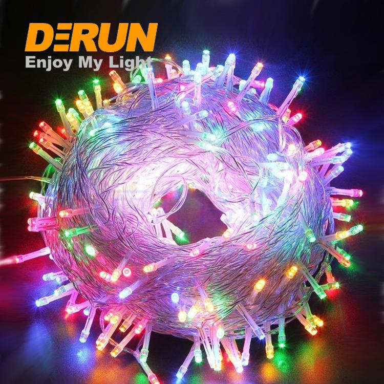 ขายร้อนเทศกาลแสง 110V 220V ปลั๊ก 10 20 30 100 เมตรสีแดงคริสต์มาสสีฟ้า LED String Light, DEC-110/220 V