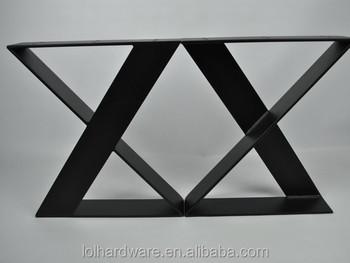 X style métal À manger table jambes avec table en bois pour le