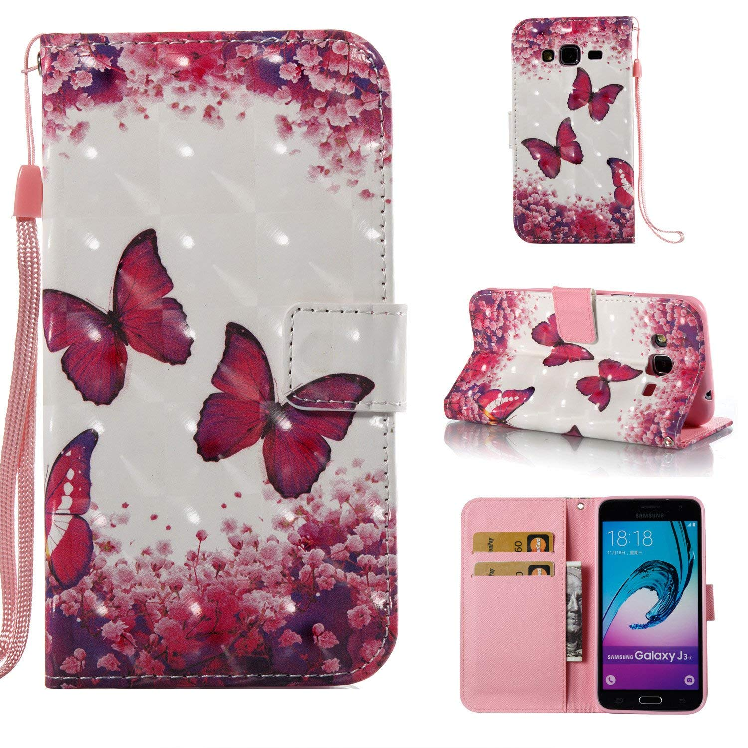 StarCity Case For Galaxy J3 (2016) / Galaxy J3, PU Leather Folio Flip Cover Wallet Case For Samsung Galaxy J3 (2016) (Butterfly Rose)