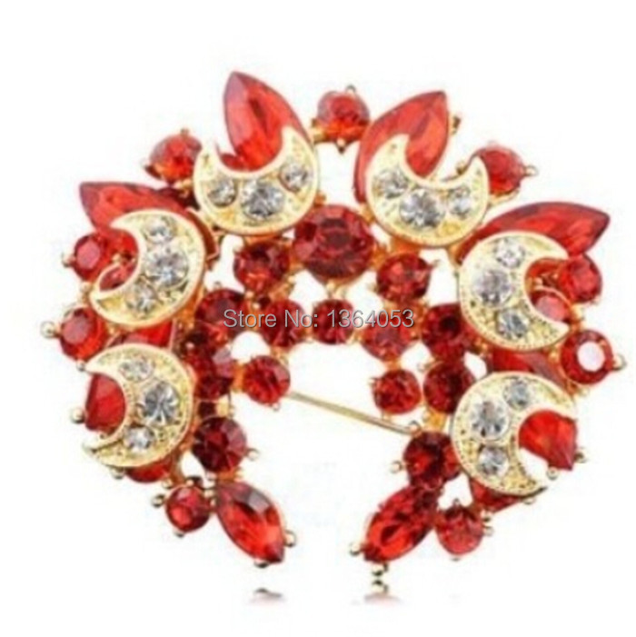 European And American Fashion Hot Elegant Crescent Mixed Color Rhinestone With Alloy Wreath Brooch Wholesale Manufacturers-Y016
