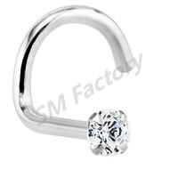 diamond 14k white gold nose rings twist body piercing jewelry--SMBD325022
