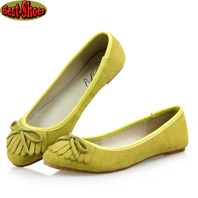 New 2015 wWomen Fashion Brands Tassel Bows Genuine Leather Flat Shoes Women Spring Casual Flats Shoes For Women Size 35-40