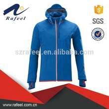 Blauw softshell <span class=keywords><strong>hooded</strong></span> ski jas waterdicht