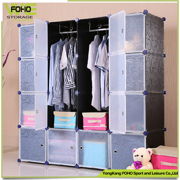 16 Cube Plastic Wardrobe Cabinet With 2 Clothes Hanger Folding PP Panel DIY  Living Room Bedroom