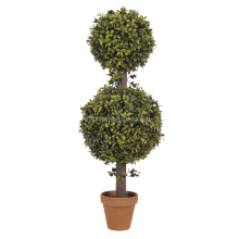 Potted mini green artificial plant leaf ball topiary , artificial boxwood topiary tree