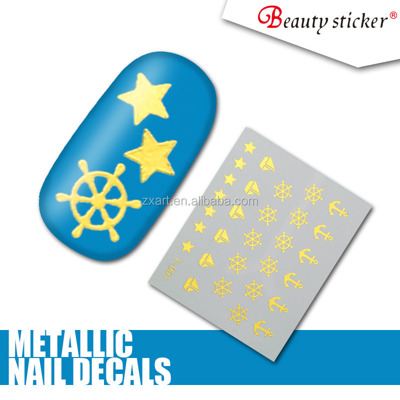 Wholesale fashion beautiful lover holiday nail art stickers metallic water slide nail decals