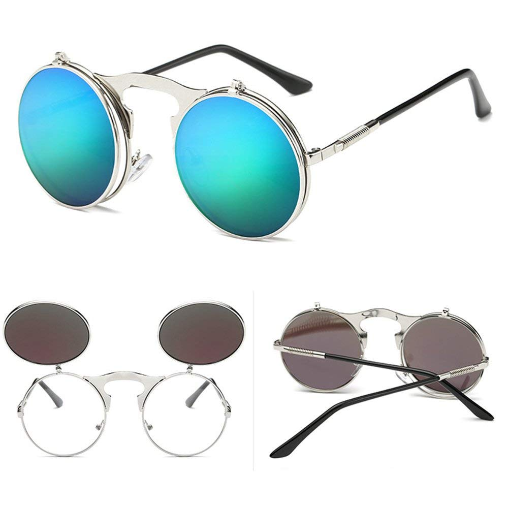 09e88527a502 Get Quotations · New-Hi Unisex Simple and Stylish Cool Steampunk Style  Round Flip Up Mirror Sunglasses Metal