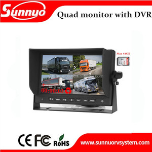 DC12-24V 7 inch TFT LCD Quad Monitor Stand Alone With DVR function