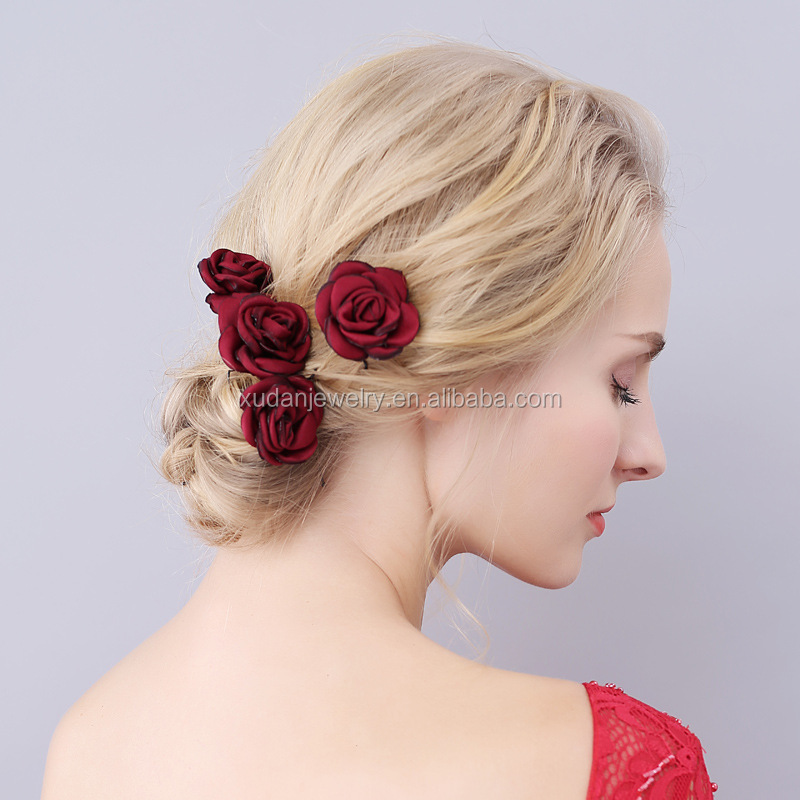 Pretty Hot Red Rose Flower Hair Grips Bobby Pin For Wedding