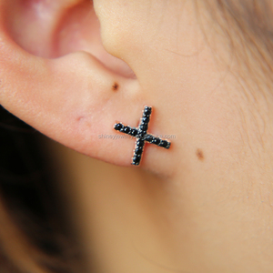 simple rose gold plated black cubic zirconia two tone 925 sterling silver X cross stud earring