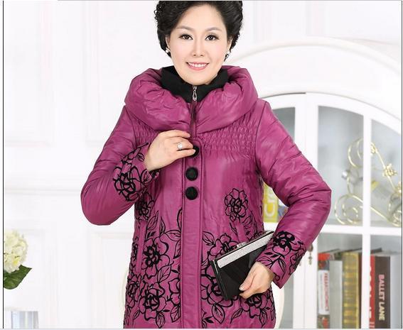 Куртка принт, среднего возраста женщины мягкий зима печать хлопок воротник-хомут толстый тёплый пальто приталенный # 70063