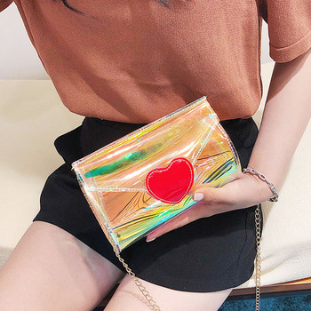 Fashion style Laser jelly heart chain bag PVC single shoulder crossbody bag