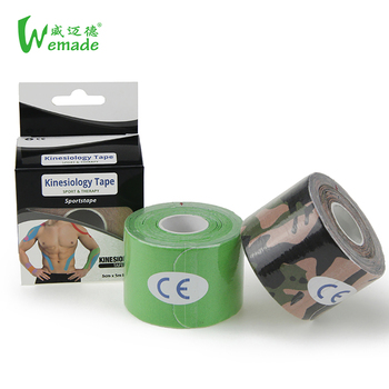 Custom CE approved 5cm 5m precut rolls pre cut strips pre-cut kinesiology therapeutic strapping sport tape for knee with box