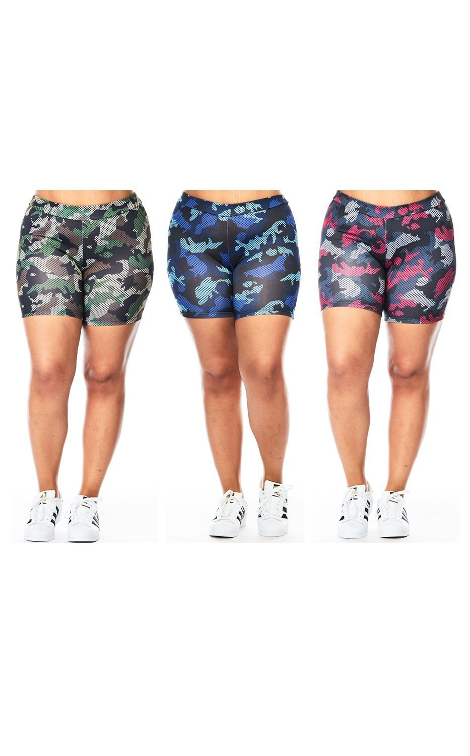 new style 59571 76e91 Get Quotations · Womens Plus Compression Yoga Camo Printed Spandex Shorts  3113X