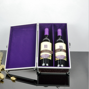 Europe and the United States sell like hot cakes aluminum 2 bottles of red wine box, fashion beautiful storage box, portable lux