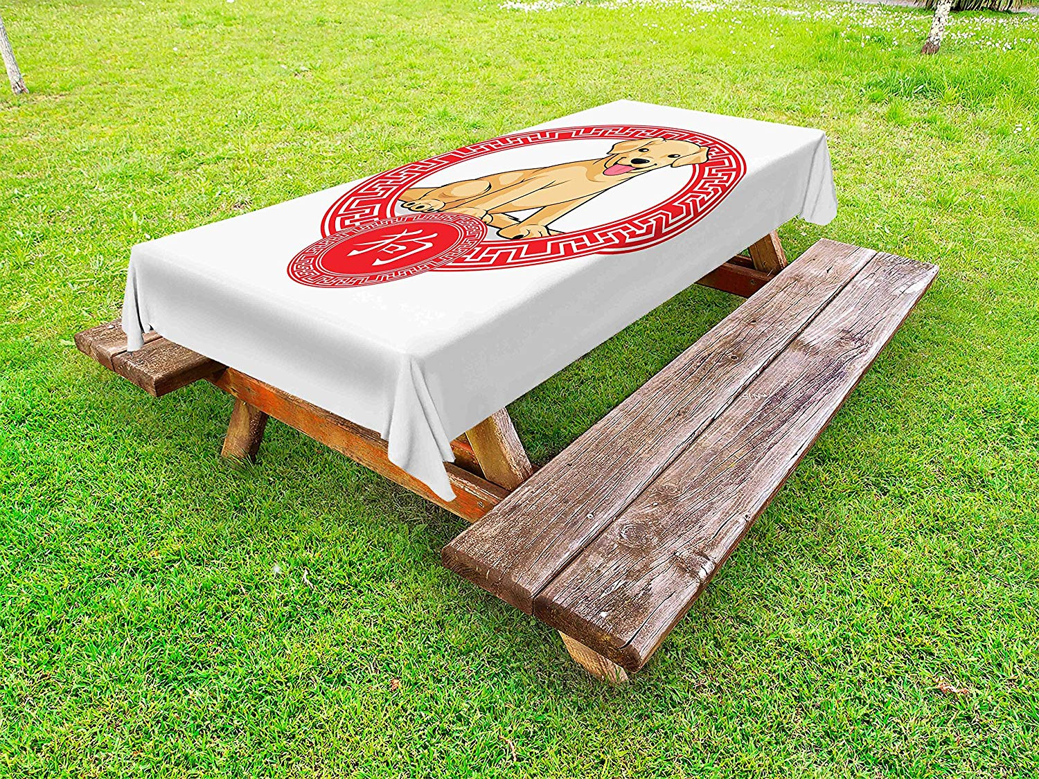 Ambesonne Year of the Dog Outdoor Tablecloth, Chinese Zodiac Animal Traditional Geometric Shapes Lunar Year, Decorative Washable Picnic Table Cloth, 58 X 84 Inches, Pale Brown and Vermilion