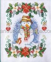 Christmas bead embroidery, Snowman glass bead embroidery, Chinese bead embroidery