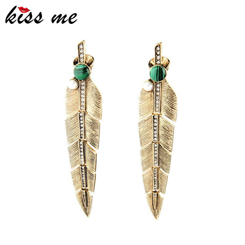 Feather Drop <strong>Earring</strong> Long Style Vintage Chunky Gold <strong>Earrings</strong> Accessory