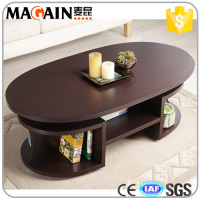 Modern Wood Walnut Brown Oval Multi Shelf Elliptical Coffee Table With Storage