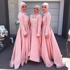 Satin Long Women Blush Pink Arabic Muslim Bridesmaid Dress