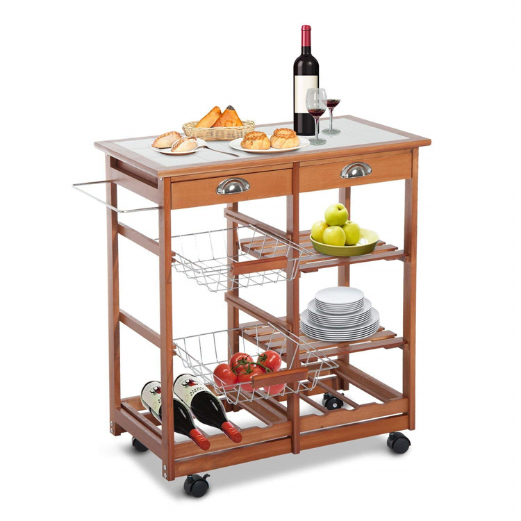 Natural bamboo rolling kitchen storage cart with wheels 3